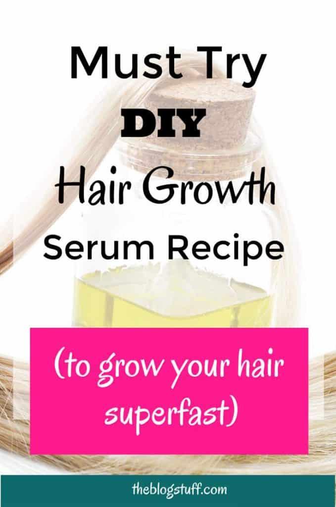 Natural DIY hair growth serum oil recipe. Make you hair grow faster with this natural homemade serum.