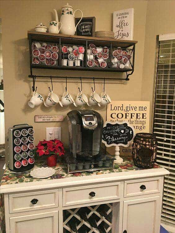DIY home coffee bar station. I love this vintage style home coffee bar look