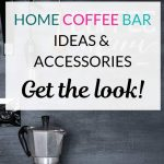 Home coffee station with overlay text -Diy home coffee station