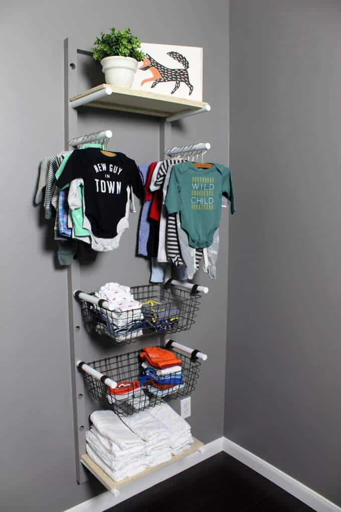 DIY baby clothes rack