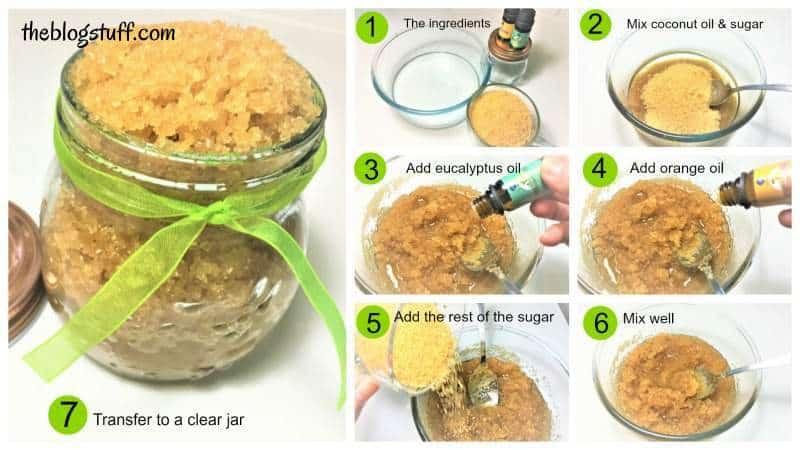 How to make diy brown sugar scrub with eucalyptus essential oil