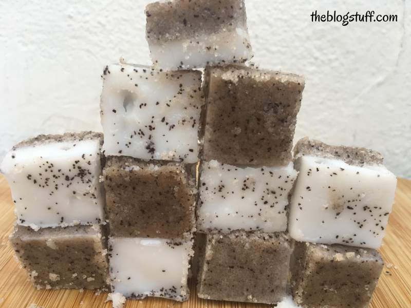 DIY coffee and coconut oil scrub cubes