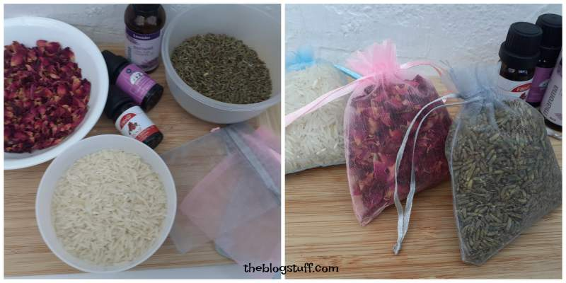 Homamade scented sachets essential oils