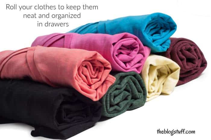 Rolled t shirts in drawer