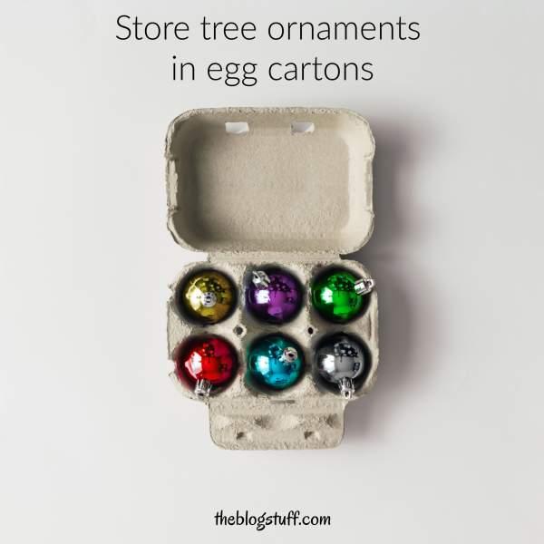 Egg carton with Christmas tree ornaments