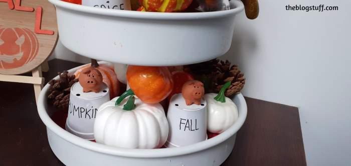 DIY white tiered tray fall decor